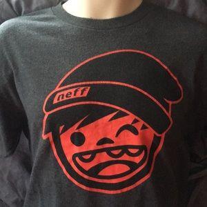 Neff Shirts - NEFF (M) T-Shirt. Grey w/ Red Logo.